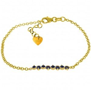 14K. SOLID GOLD BRACELET WITH NATURAL SAPPHIRES